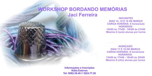 Workshop de bordados com Jaci Ferreira