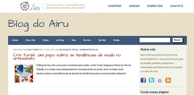 Cris Turek colunista no Blog do Airu
