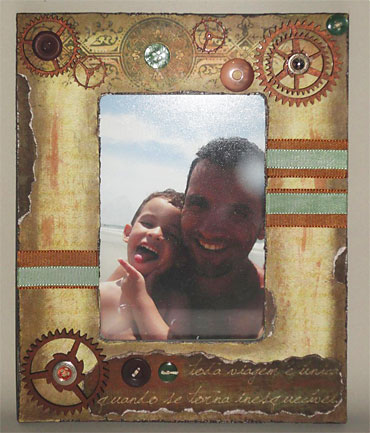 Porta-retrato em scrap decor envelhecido