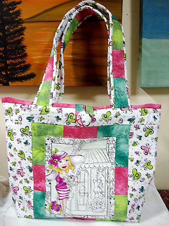 Bolsa de tecido com patchwork simples com estampa