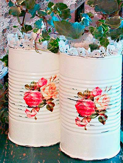 Recicle latas no estilo shabby chic