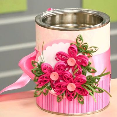 Técnica do quilling para decorar latas